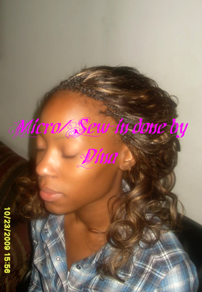 Micro Braids with Sew-in done by Dina - Dina Professional African Hair ...